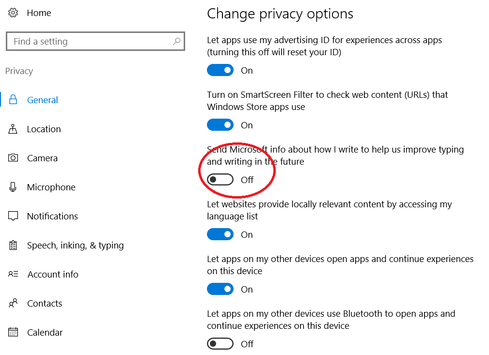 Disable Microsoft Keylogger from Windows 10
