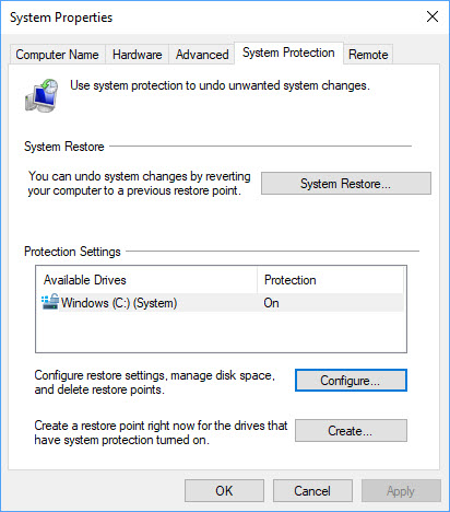 enable system protection error