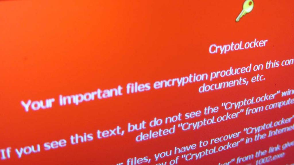 A screenshot of Cryptolocker, a common piece of ransomware.