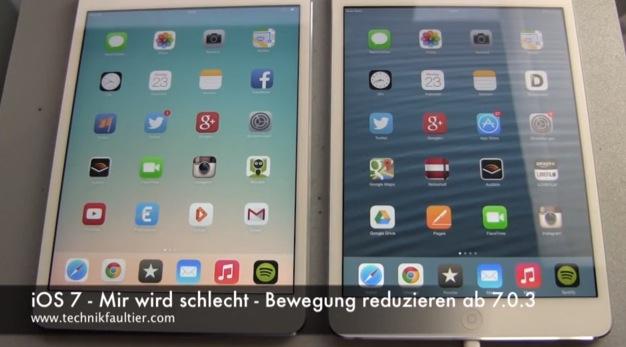 iOS7 - Mir wird schlecht - Bewegung reduzieren ab 7.0.3