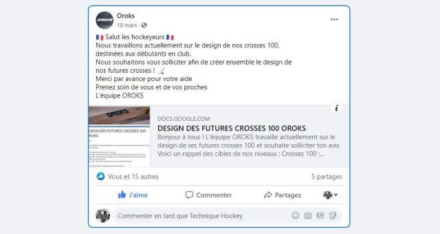 Co-développement avec les utilisateurs Oroks - Post Facebook d'Oroks