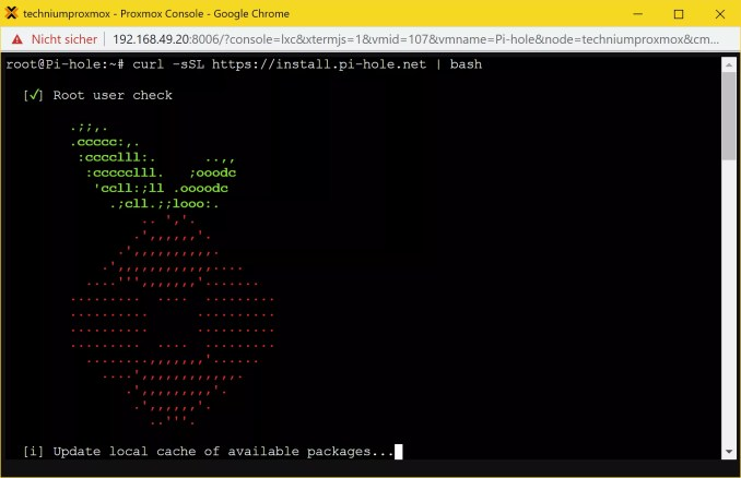 Pi-hole LXC Container installieren - install