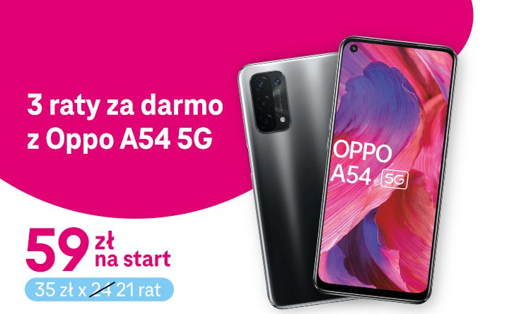 T-Mobile - trzy raty gratis na OPPO A54 5G