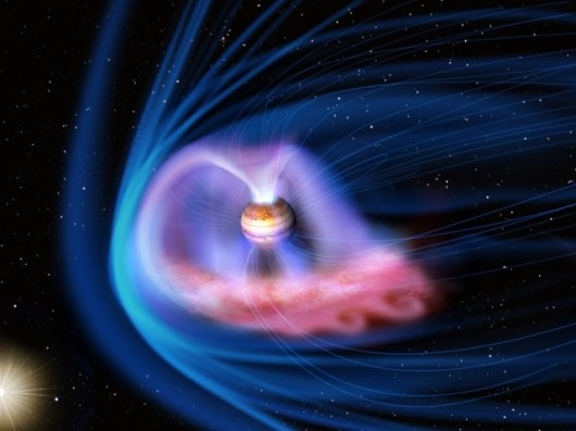 una riproduzione grafica dei venti solari ed energie supplementari che causano le aurore su Giove
