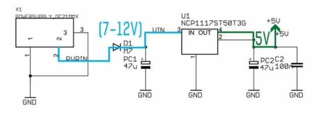 Arduino Uno working of the voltage regulator subsystem