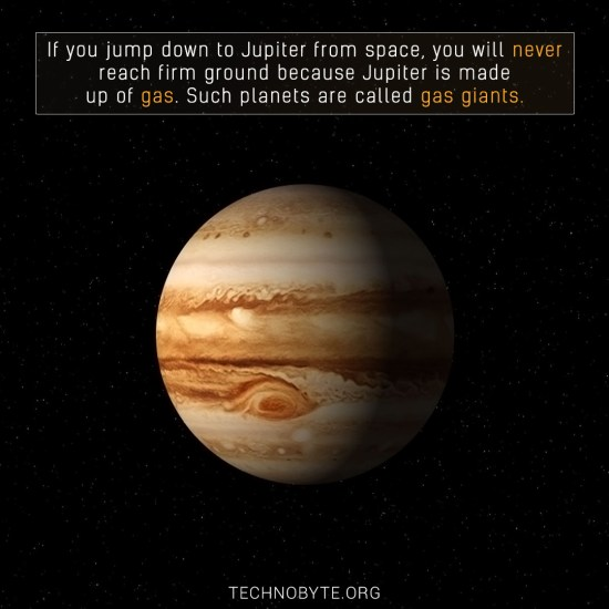 Jupiter doesn't have a defined land mass