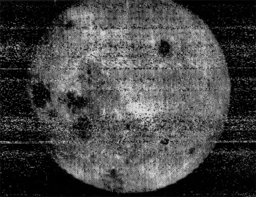 The first image of the far side of the moon captured by the Russian probe Luna 3