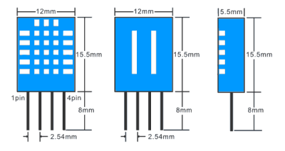 DHT 11 sensor physical dimensions