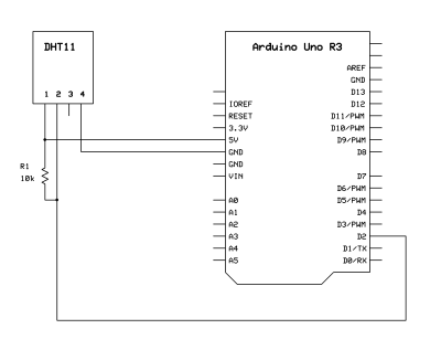 Circuit diagram to interface DHT 11 with Arduino