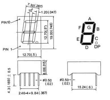 7segment display dimensions