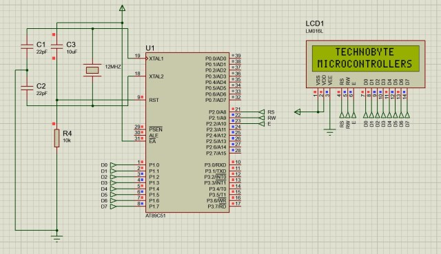 Circuit diagram to interface LCD module in 8-bit mode with 8051