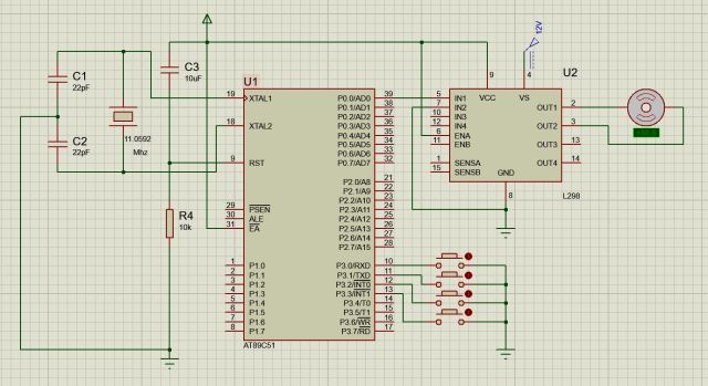 Circuit diagram to interface dc motor with 8051 using L298N IC