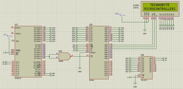 Circuit diagram to interface LCD module using 8255 ppi with 8051