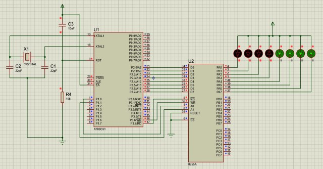 Interfacing 8 LEDs with 8051 using 8255 PPI