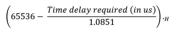 equations used in timers of 8051