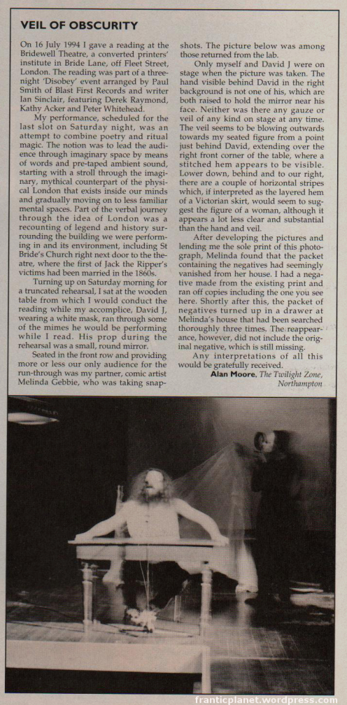 Alan Moore's letter to Fortean Times
