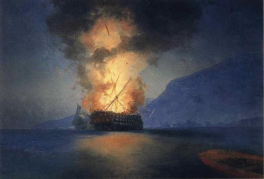 Ivan Aivazovsky -Exploding Ship - 1900