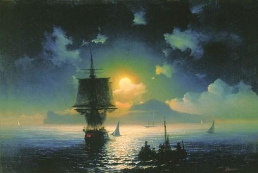 Ivan Aivazovsky - Lunar Night on Capri - 1841