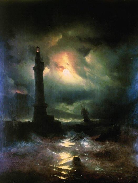 Ivan Aivazovsky - Neapolitan Lighthouse -- 1842