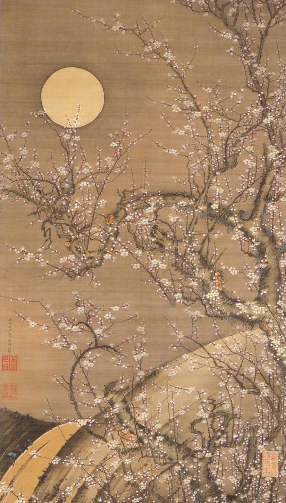 Itō Jakuchū - 伊藤若冲 Japanese, 1716-1800) White Plum Blossoms in Moonlight 月夜白梅図