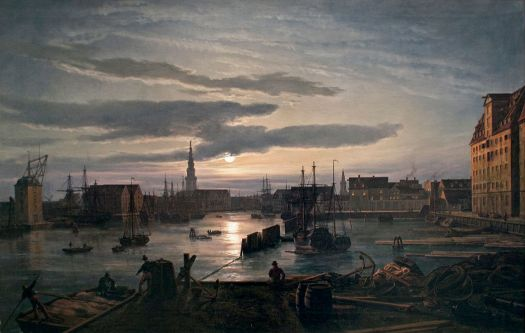 Johan Christian Dahl - Copenhagen Harbour by Moonlight - 1846