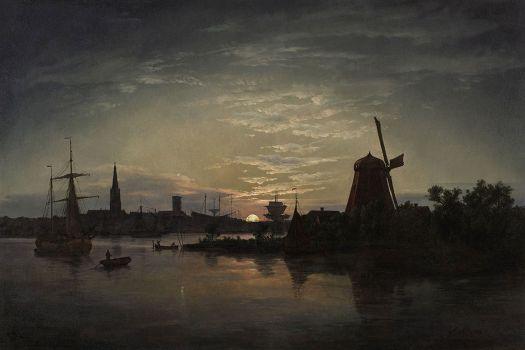 Johan Christian Dahl - Swinemuende bei Mondschein