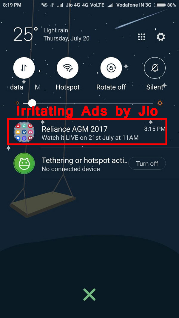 Stop Flash Messages In Jio