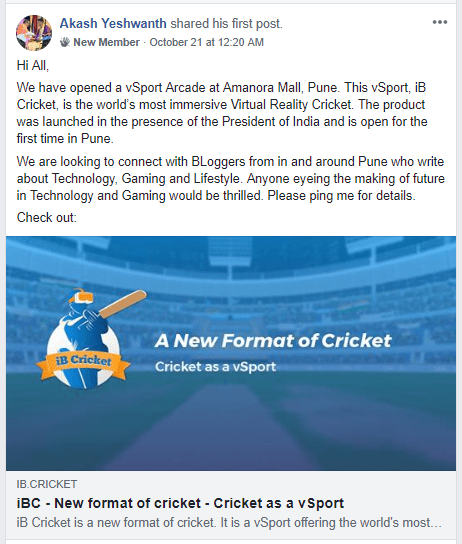 iB Cricket Post in Pune Bloggers Facebook Group