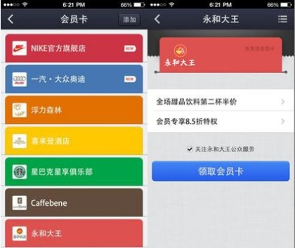 Interface of Alipay Wallet Loyalty Programs