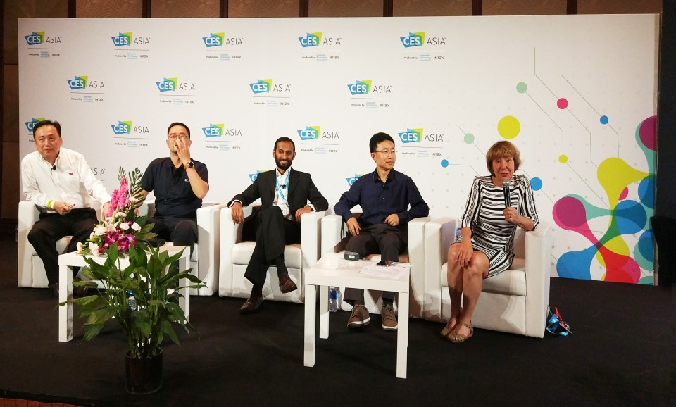 From second left to right:  Sakétaram Soussilane of Meo Life, Gamp Zhu of Lohas Tech and Jiang Li of VivaLnk at CES Asia 2017 (Image credit: TechNode)