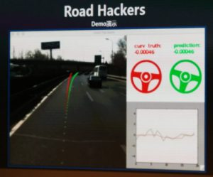 Road Hackers demo comparing real-time human driving actions and driving actions predicted by AI based on road conditions.