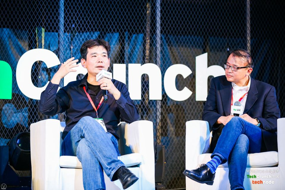 Intel's Tang Zhengyu and Jaunt China's James Fong speaking at TechCrunch Shenzhen