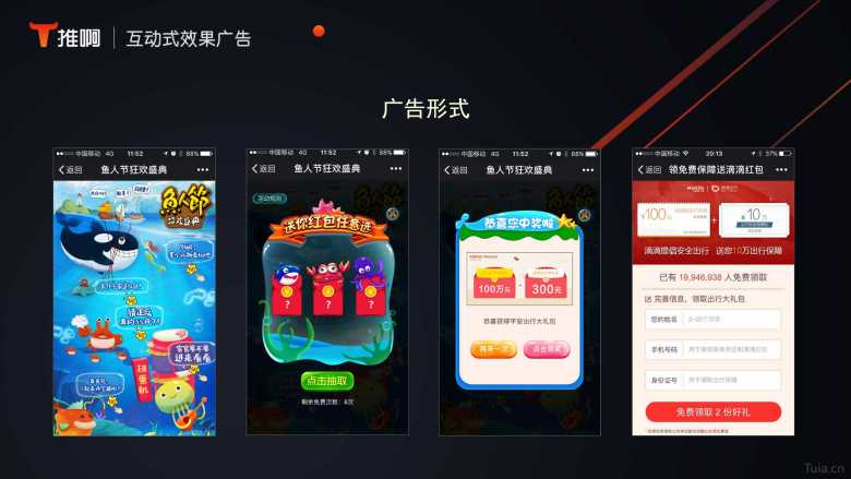 first: entrance to play a game, second: game with a red envelope, third: the result of the game, fourth: landing page that points to the ad content (Image Credit: Tuia)