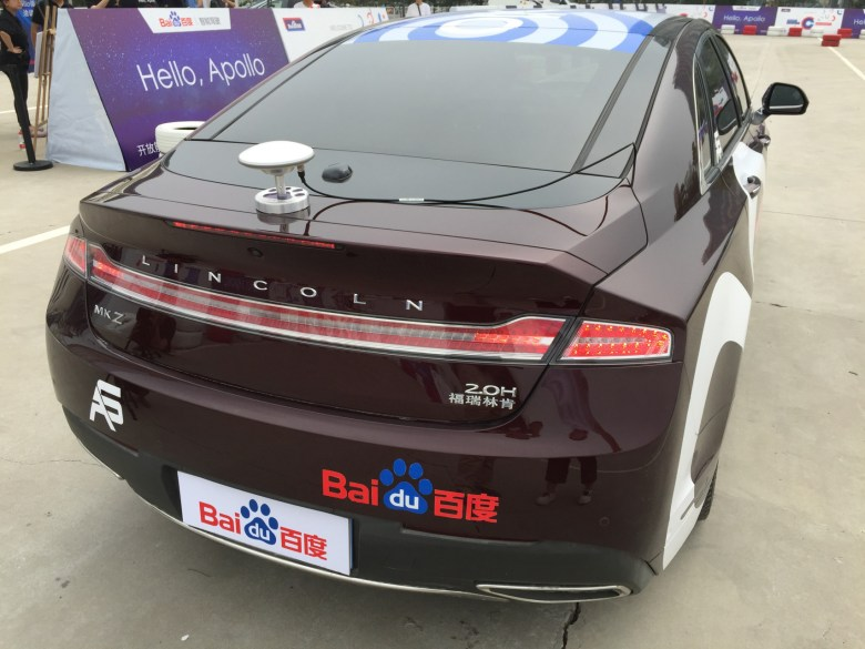 The Lincoln MKZ kitted out with sensor by AutonomouStuff for Baidu's Apollo 1.0 (Image credit: TechNode)