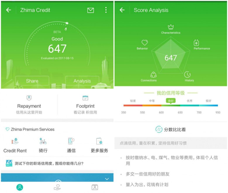 Screenshot of Sesame Credit on Alibaba's Alipay app.