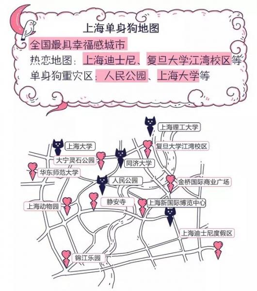 Shanghai at Qixi: pink hearts for couples, blue TMall logo cat heads for singles (Image credit: Alibaba Group)