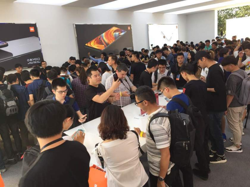 Fans of Xiaomi and journalists testing out the Mi Mix 2. (Image credit: Xiaomi)