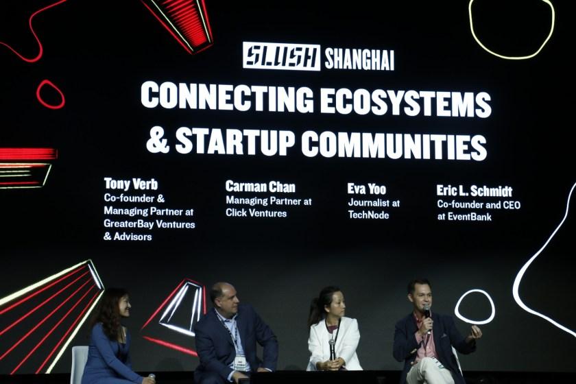 Eva Yoo, Eric Schmidt, Carman Chan, and Tony Verb at Slush Shanghai