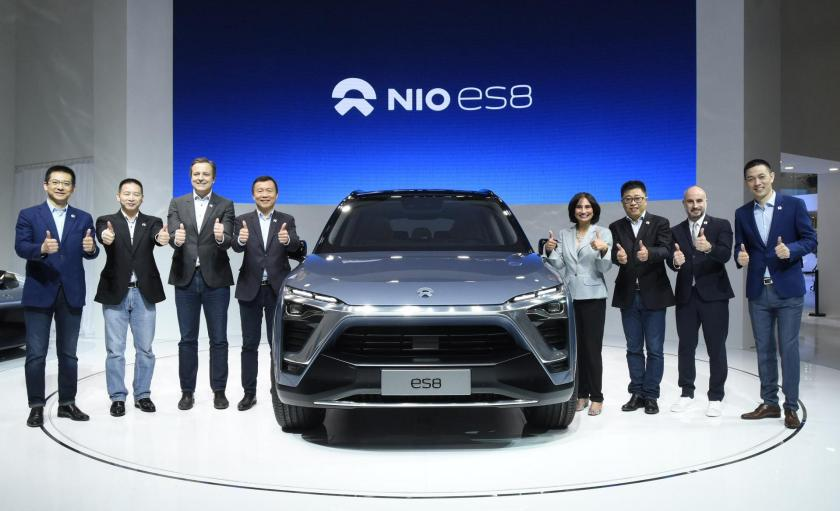The ES8 being unveiled. (Image credit: NIO)
