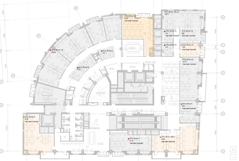 The CaaS backend has features for building managers such as this live floor plan which displays the current rental situation (Image credit: Naked Hub)