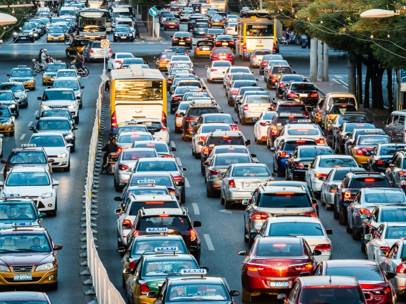 A traffic jam during rush hour in the downtown area of Beijing in August, 2011. (Image credit: Bigstock/Checco)
