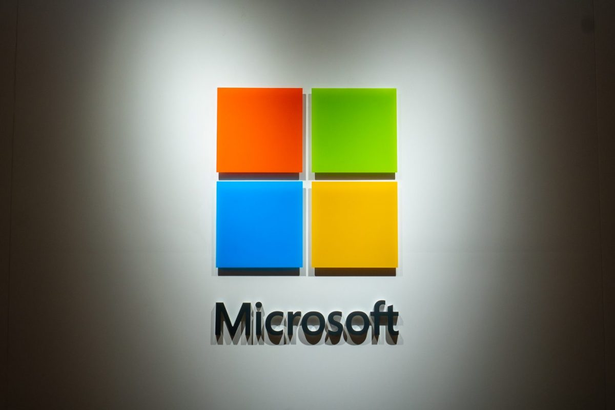 Microsoft's logo is seen at one of their authorized reseller stores in Pudong, Shanghai on April 18, 2019. (Image credit: TechNode/Eugene Tang)
