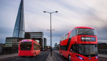 In this image from BYD, an electric double decker produced by BYD and Alexander Dennis Ltd (ADL) is driving on a road in London. (Image credit: BYD)