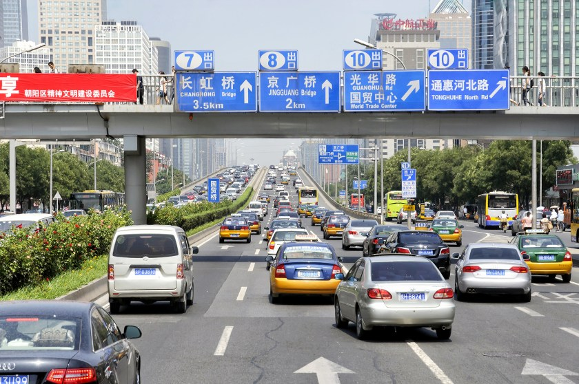 <em>A traffic jam during rush hour in the downtown area of Beijing in August, 2011. (Image credit: Bigstock/Checco)</em>