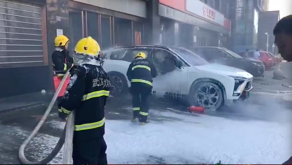 Nio electric vehicle car fire