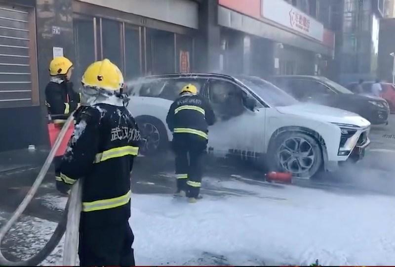 Nio electric vehicle car fire