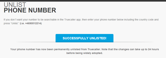 Remove number from Truecaller directory
