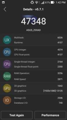 ASUS Zenfone 2 Deluxe Antutu Benchmark score