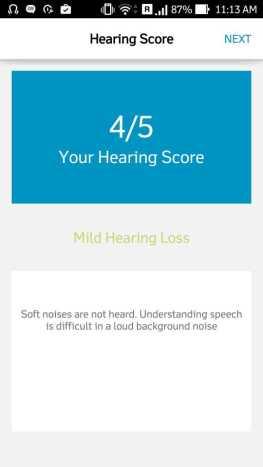 Quadio Q+ hearing test score