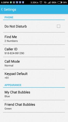 Caller id faker app settings